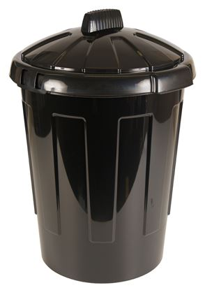 Picture of Black Plastic Dustbin With Lid