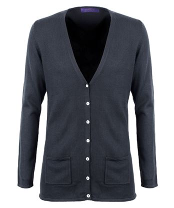 Picture of Henbury Ladies Long V-Neck Cotton/Acrylic Cardigan
